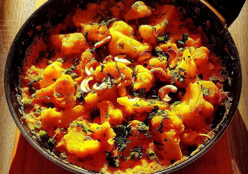 Coliflor al curry con zanahoria